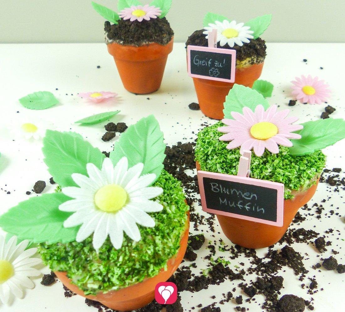 Blumen Muffins im Tontopf