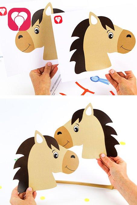 Pferde Schatzsuche - Pferde Vorlage für Steckenpferd