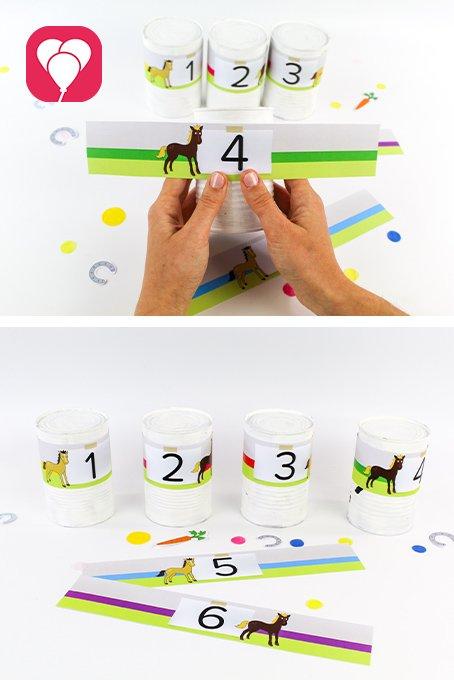 Pferde Schatzsuche - Dosenwerfen mit Pferdeetiketten