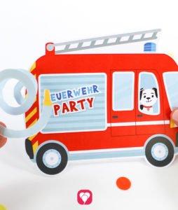 Feuerwehr Karte mit Schlauch- balloonas