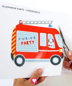 Feuerwehr Karte - Vorlage ausschneiden