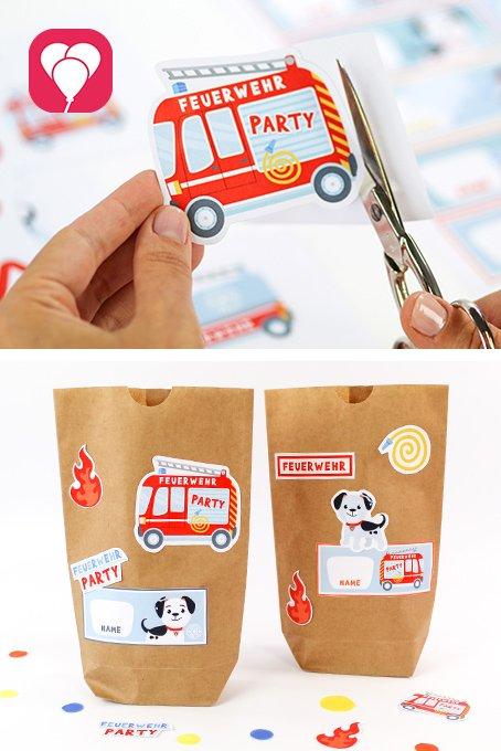 Feuerwehr Geburtstag - Gastgeschenke Sticker