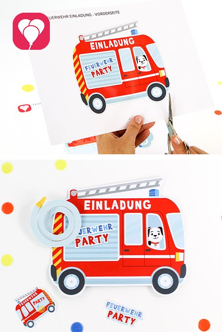 Feuerwehr Geburtstag Einladung basteln - balloonas.com