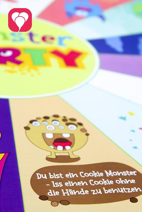 Monster Flaschendrehen als Halloween Partyspiel für Kinder - Cookie Monster