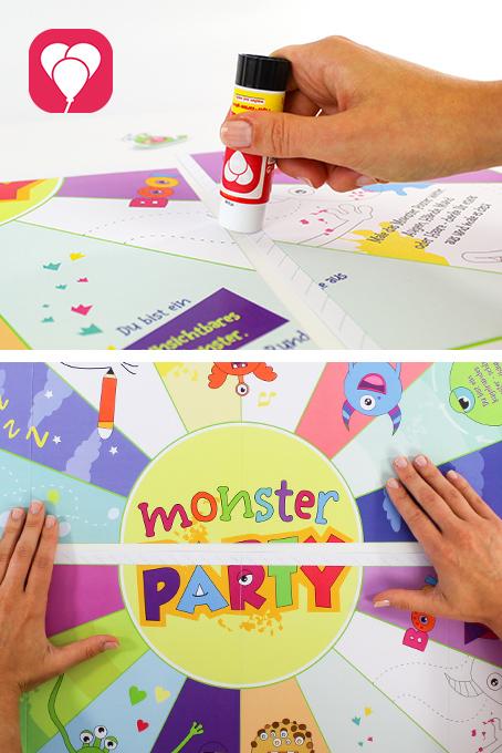 Monster Flaschendrehen als Halloween Partyspiel für Kinder - kleben
