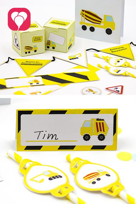 Bauarbeiter Geburtstag DIY Paket - balloonas